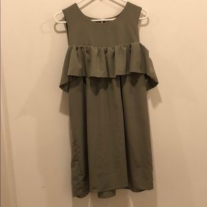 Cold Shoulder Army Green Shift Dress
